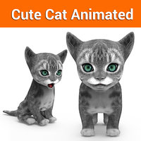 cute cat gray animated