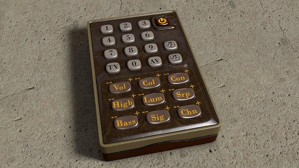 3D vintage tv remote control