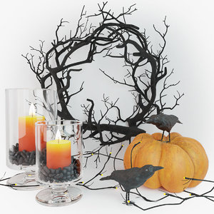 3D model halloween decor set