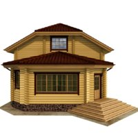 3D house wooden wood