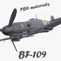 BF-109 German fighter PBR materials 3d model(1)