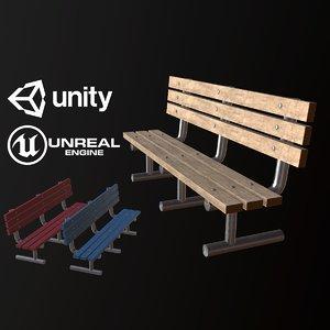 pbr ready city park bench 3D model