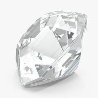 3D asscher cut diamond