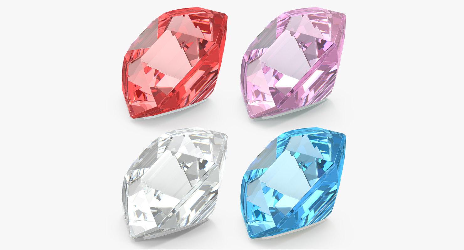 3D model asscher cut diamonds set