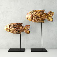 antique burmese gilded fish 3D model