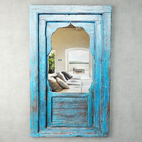 jharokha turquoise blue mirror model