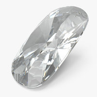 cushion cut diamond 3D model