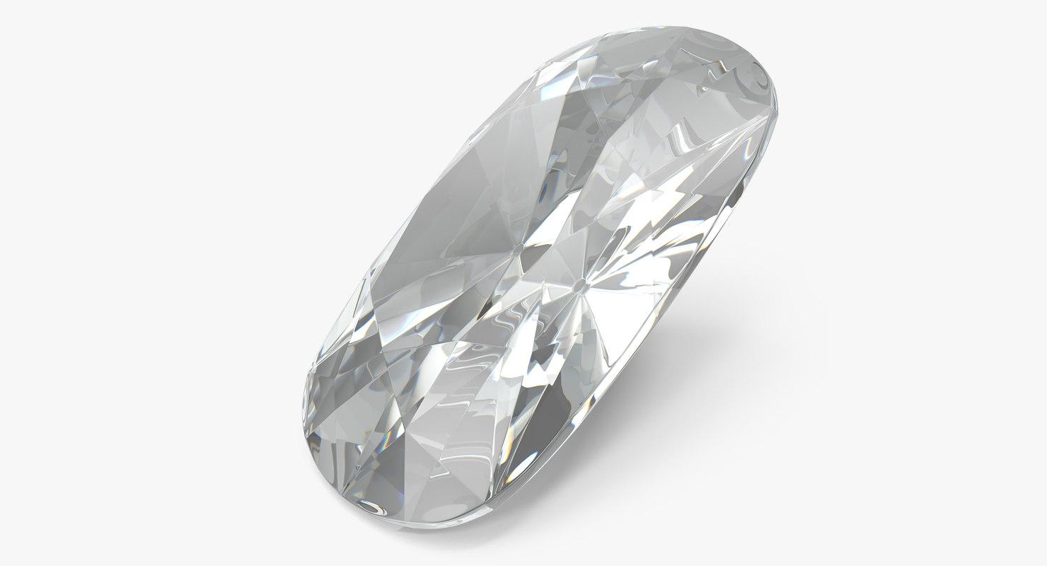 cushion cut diamond 3D model