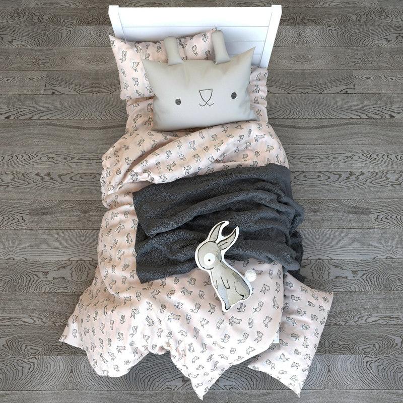 kids bunny bed 3D model