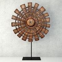 3D model wood loom wheel