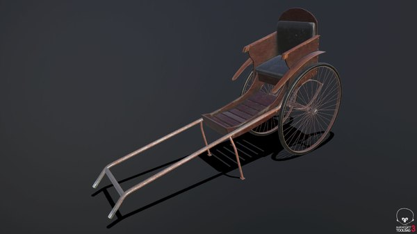 3D highpoly rickshaw model