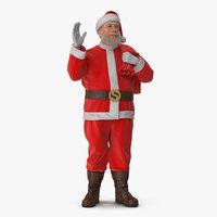santa claus holding gift 3D model
