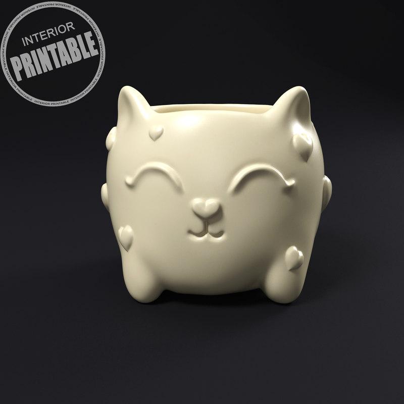 3D cat plant pot