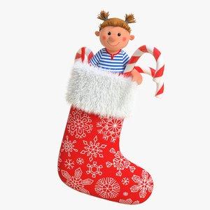 3D model christmas sock
