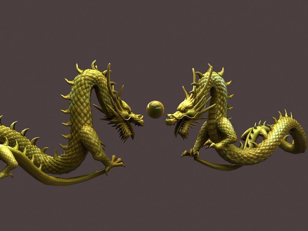 3D chinese golden dragon