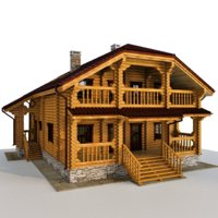 3D model house wooden wood