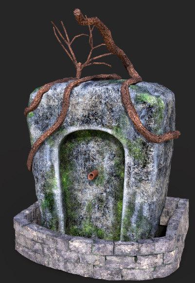 3D cartoony fountain model