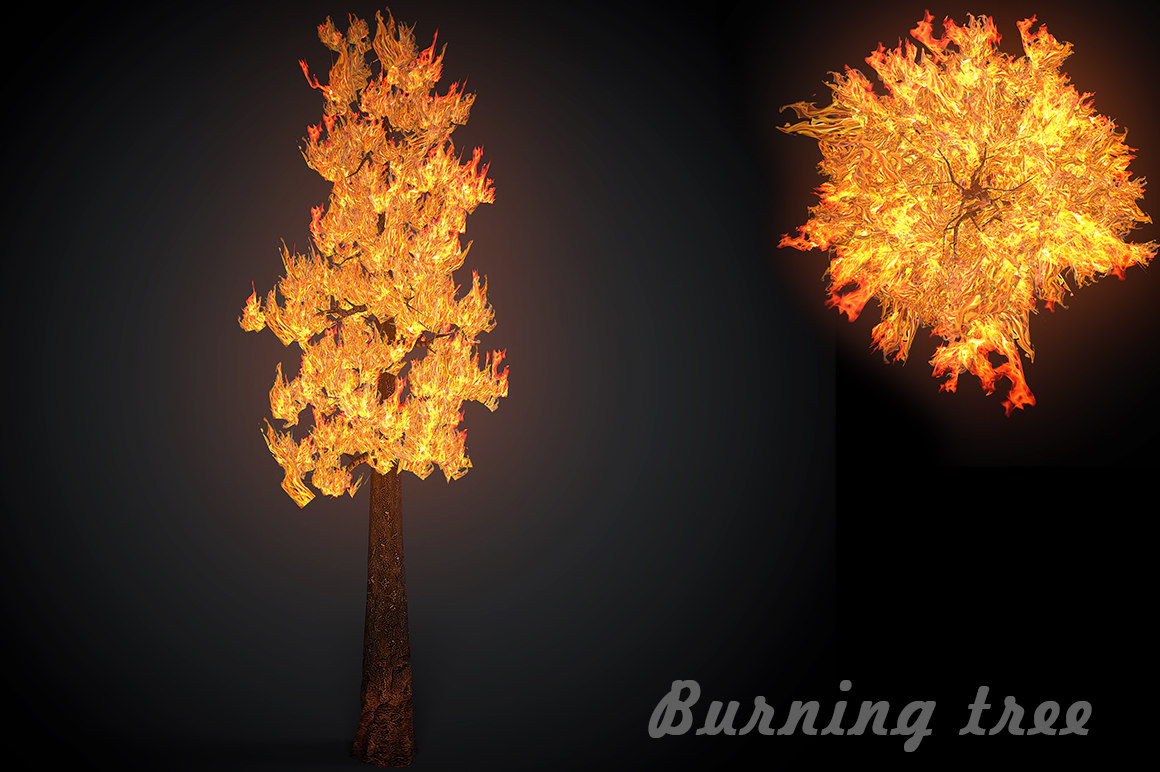 3D burning tree forest model