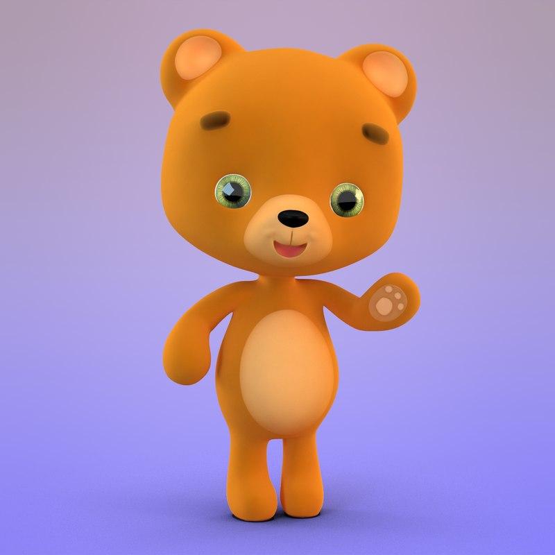 cute cartoon teddy bear 3D model
