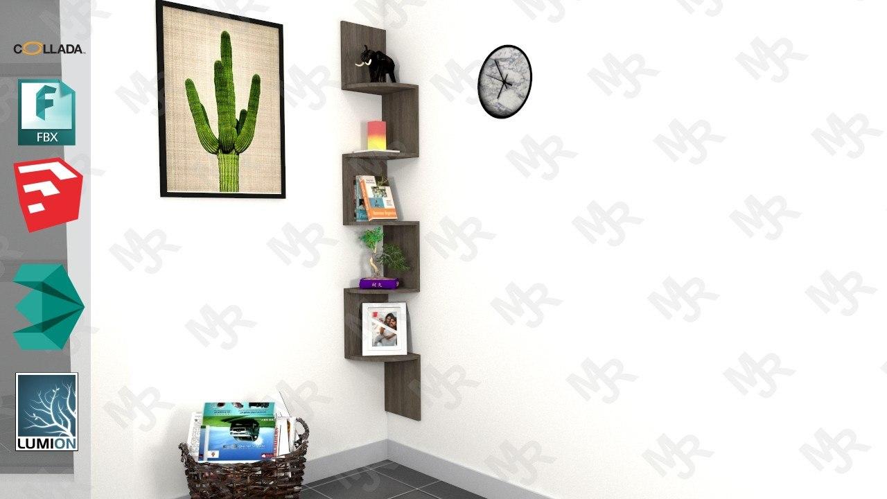 wooden corner stand pack 3D model