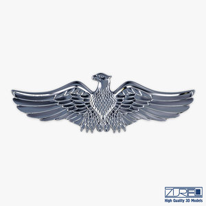eagle insignia chrome 3D