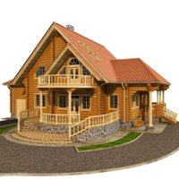 house wooden wood 3D model