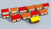 3D selection medieval houses model