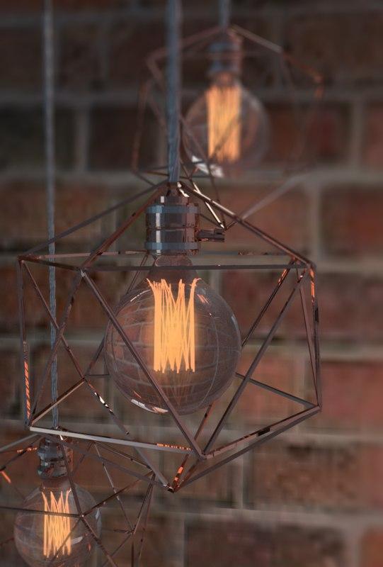 3D geometric edison light bulb