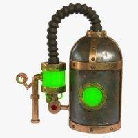 3D asset steampunk tank
