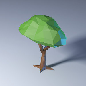 3D model polygonal low-poly tree
