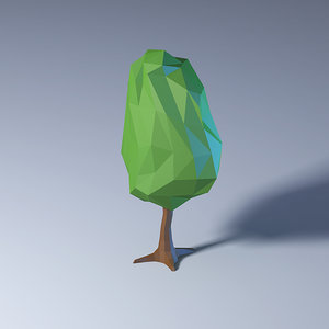 polygonal low-poly tree model