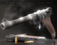 3D model old luger p08 gun