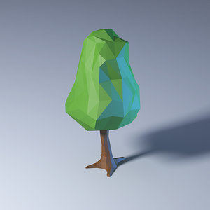 polygonal low-poly tree model