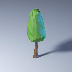 3D polygonal low-poly tree model