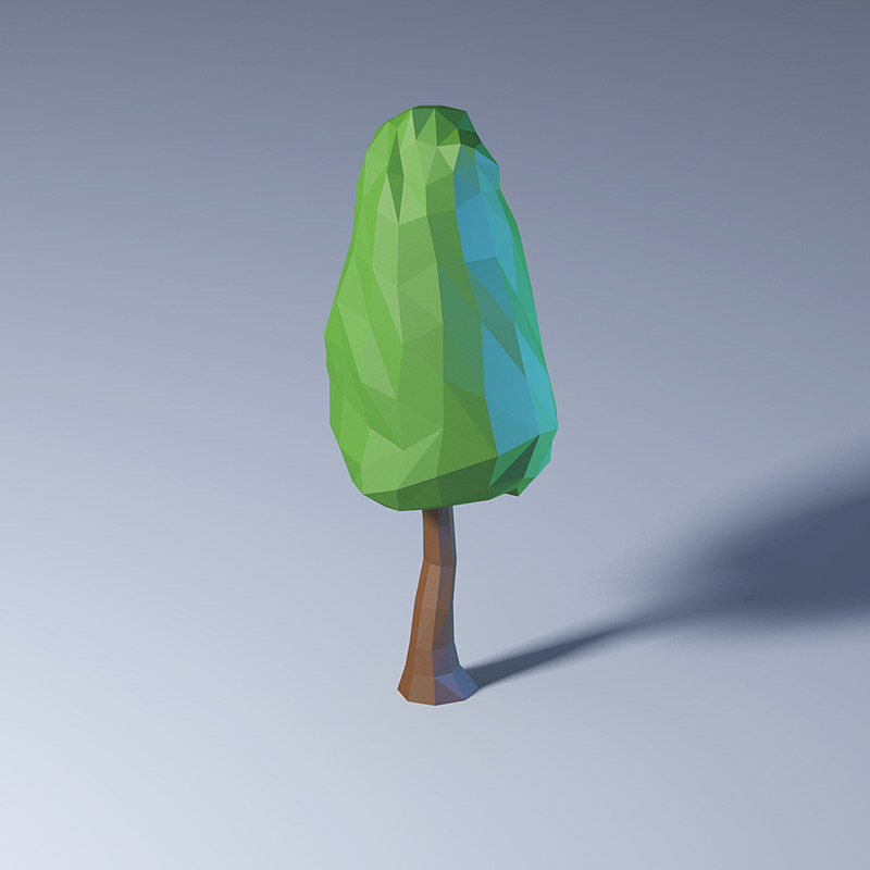3D polygonal low-poly tree model