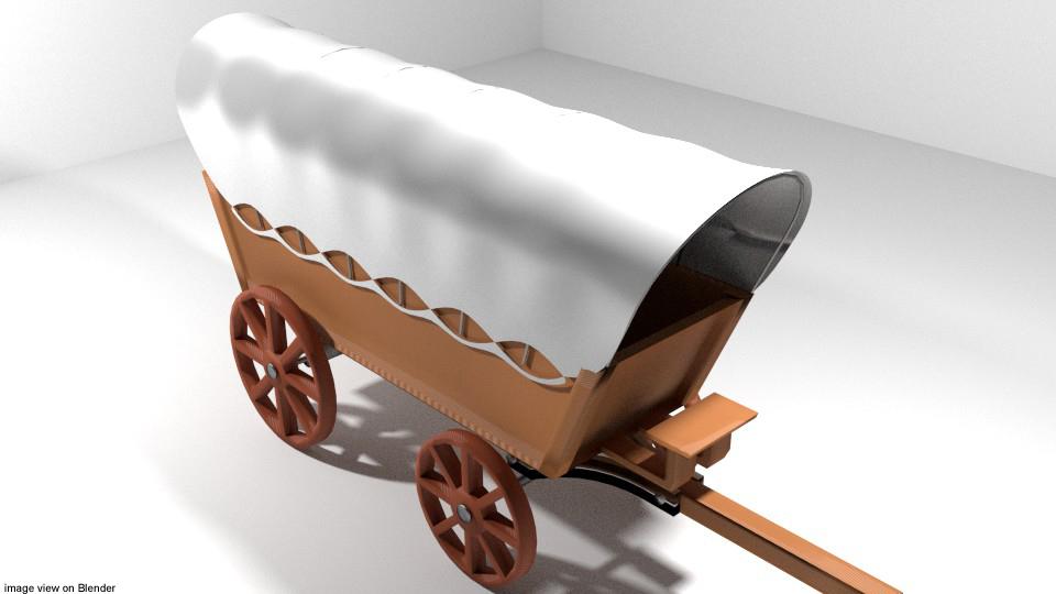 3D model conestoga wagon