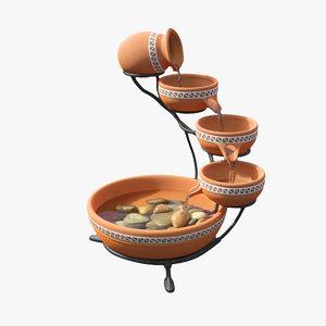 3D fountain clay model