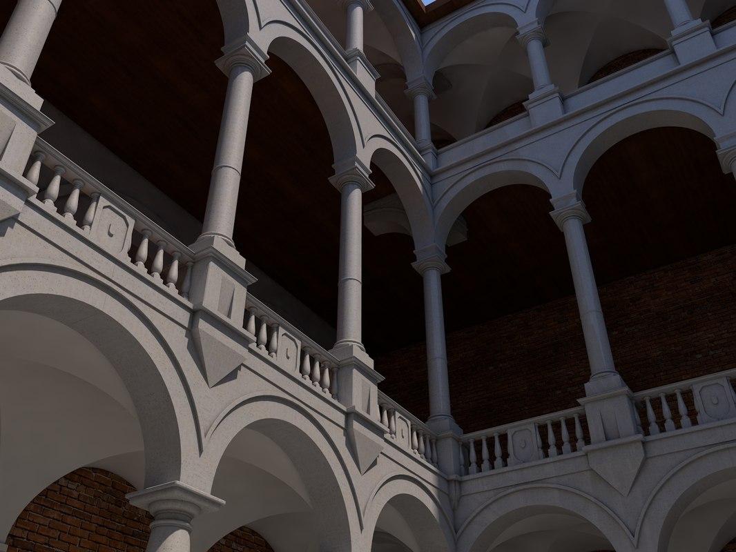 castle patio 3D model
