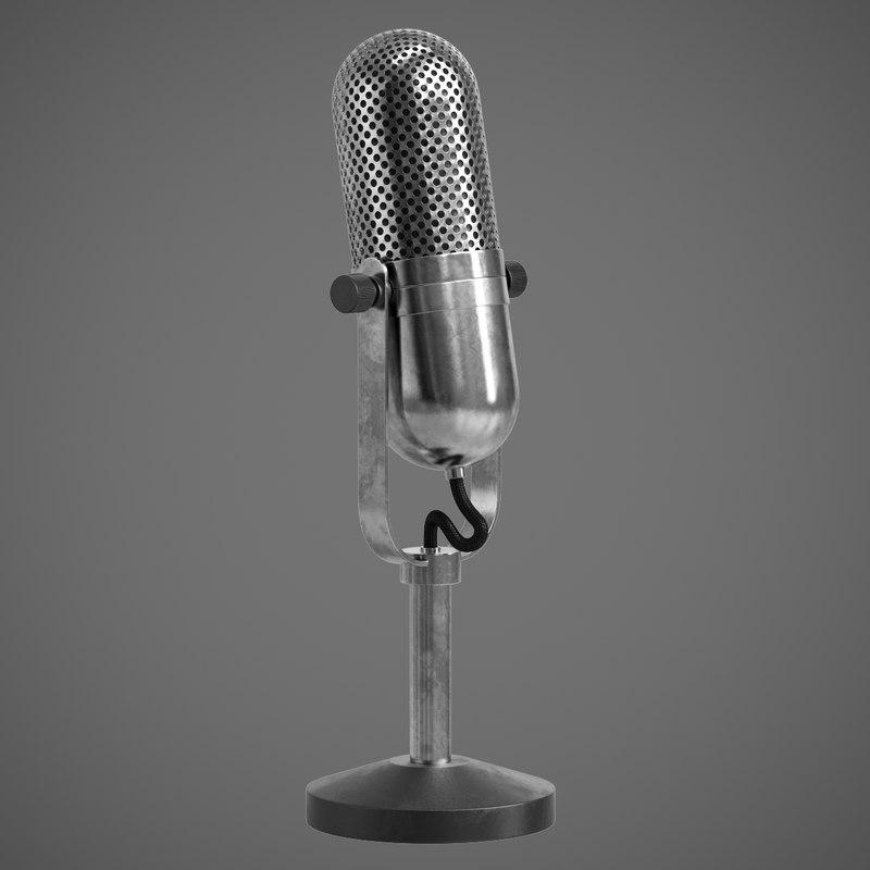 3D retro microphone mic model
