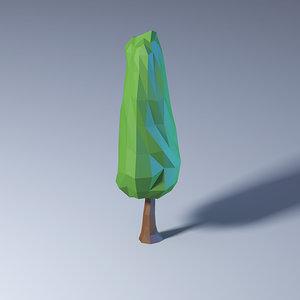 polygonal low-poly tree 3D model