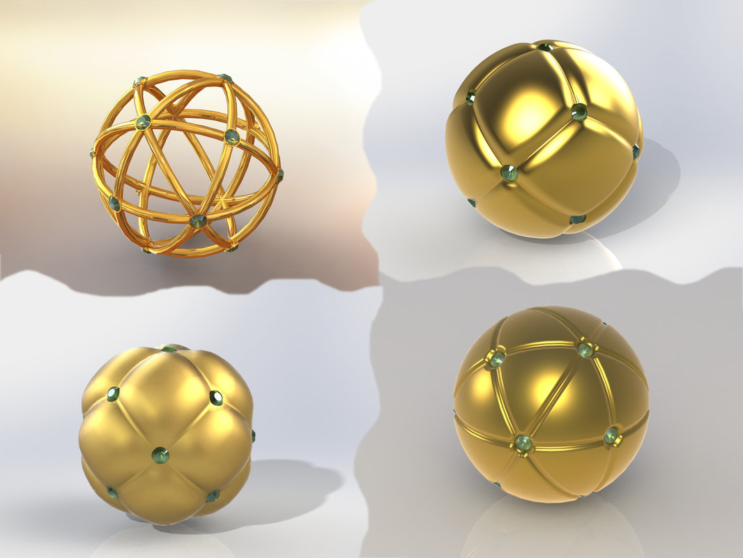 jewelry sphere gold 3D model
