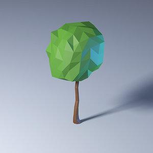 3D polygonal low-poly tree