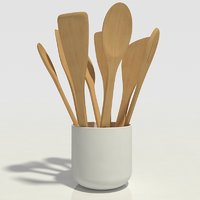 wooden spoons in bowl -kitchen-decorative -set