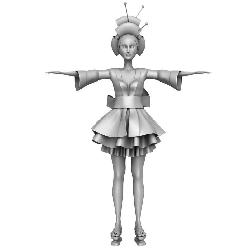 3D female character geisha