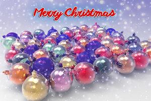 3D set christmas balls model