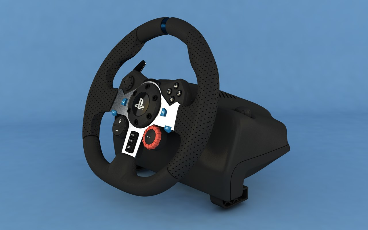 logitech g29 steering wheel 3D