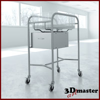 steel bassinet stand medical 3D model