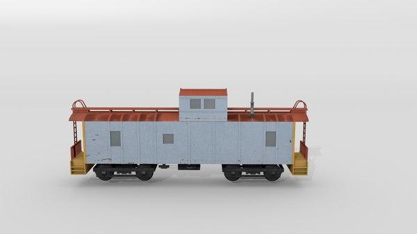 3D caboose railcar