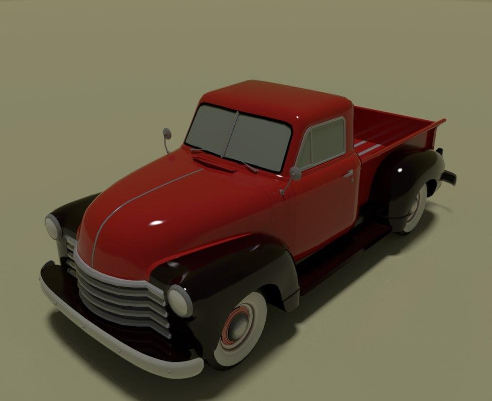 3D pick pickup retro model