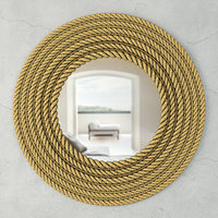 Large Round Jute Wall Mirror